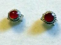 Tiny Sterling Silver Stone Stud Earrings